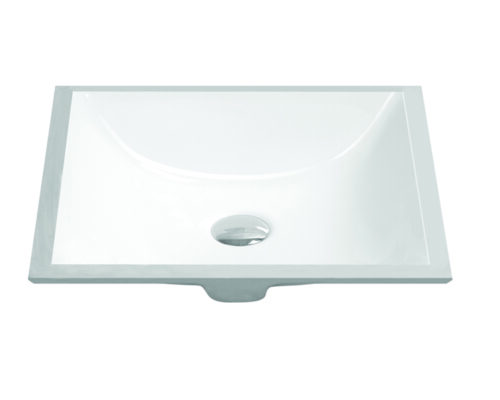"18"" Undermount Rectangular Vanity Sink, White, MODEL: 1628"