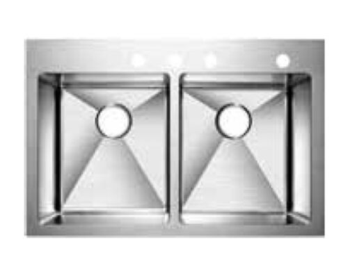 Hand Crafted,Drop-in Double Bowl Kitchen Sink, Model: RS3322A-10