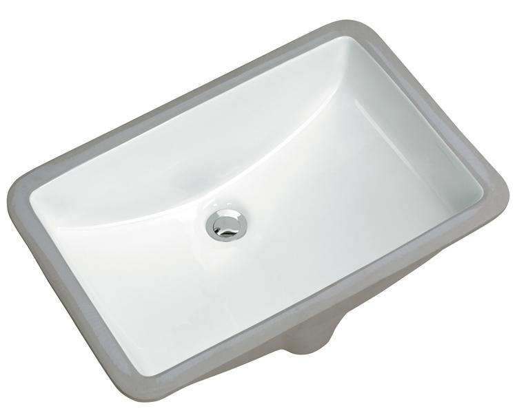 "21"" Undermount Rectangular Vanity Sink, White, MODEL: 1612W"