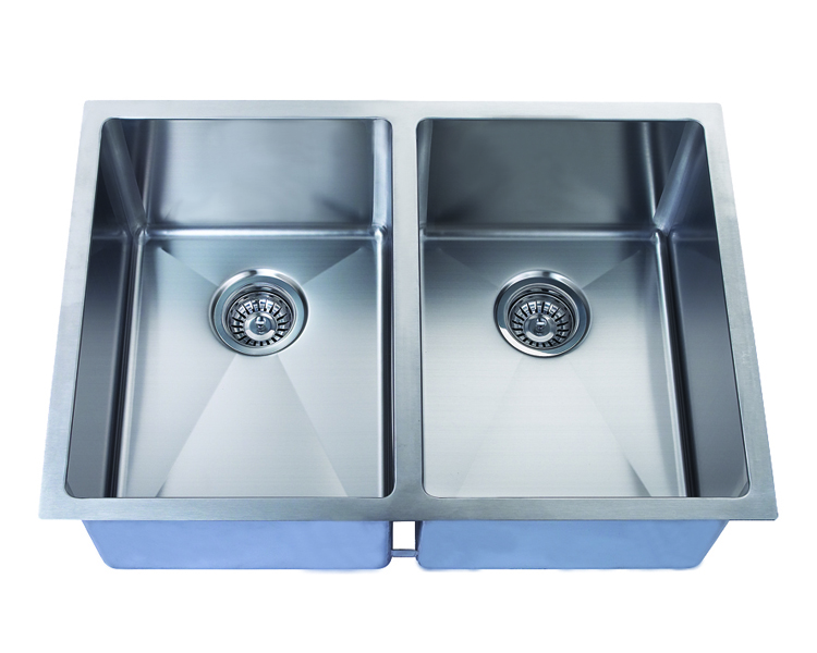 Hand Crafted, Undermount, R15 Double Bowl Kitchen Sink, Model: RR2918A (50/50)
