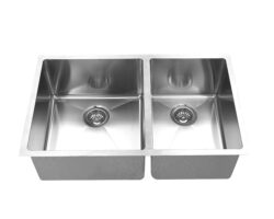 Hand Crafted, Undermount, R15 Double Bowl Kitchen Sink, Model: RR3219BL (60/40)