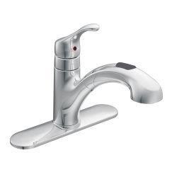 Renzo chrome one-handle low arc pullout kitchen faucetullout kitchen faucet